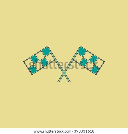 Racing flag Flat line icon on yellow background. Vector pictogram with stroke - stock vector