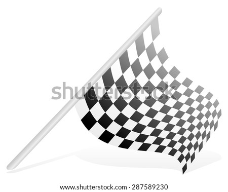 Racing flag in perspective (isolated on white) - stock vector