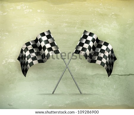 Racing flags, old-style vector - stock vector