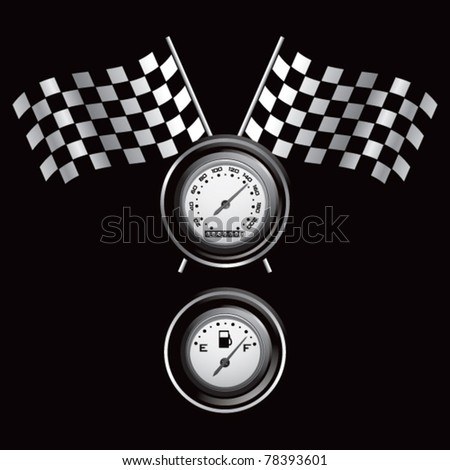 Racing flags, speedometer, and fuel gauge - stock vector