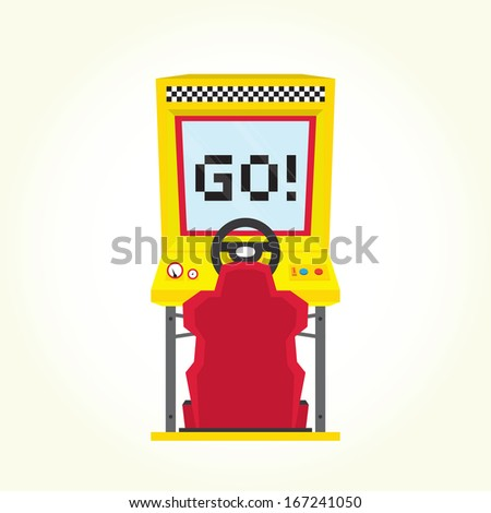 Racing game arcade machine isolated vector - stock vector