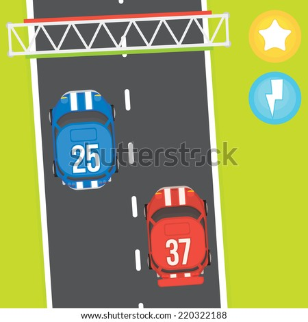 Racing game vector asset objects - stock vector