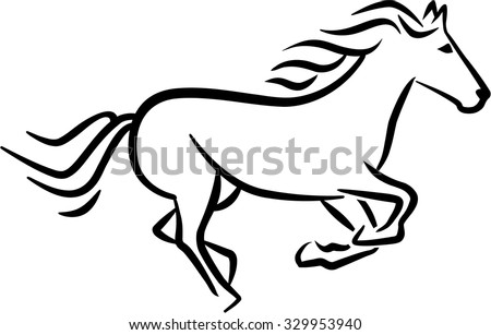 Racing horse sketch style - stock vector