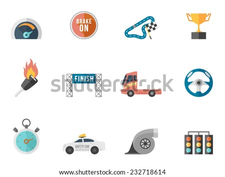 Racing icon series in flat colors style.  - stock vector