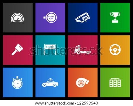 Racing icon series in Metro style - stock vector