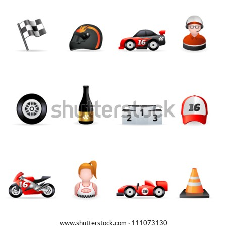Racing icon series with transparent shadows placed on separated layer - stock vector