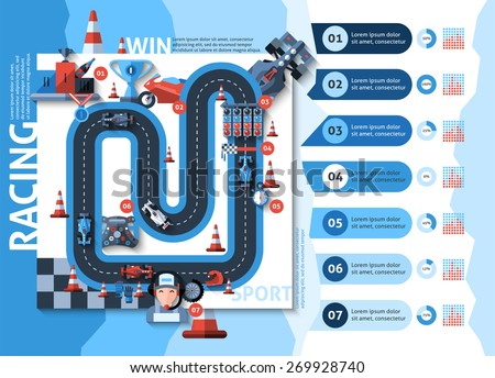 Racing infographics set with auto sport championship symbols and charts vector illustration - stock vector