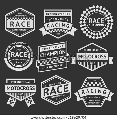 Racing insignia set, vintage style 02 - stock vector