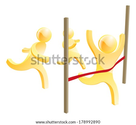 Racing men concept with one person running in the lead breaking through a red finish line - stock vector