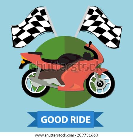 racing motorcycle badge - flat design vector  - stock vector