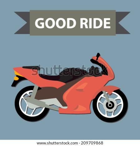 racing motorcycle - flat design vector  - stock vector