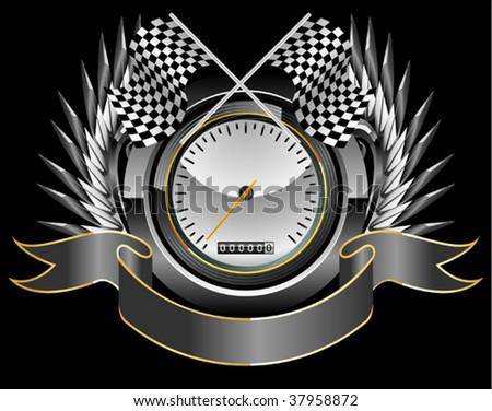 racing speedometer - stock vector