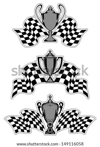 Racing sport awards and trophies with checkered flags isolated on white background - stock vector