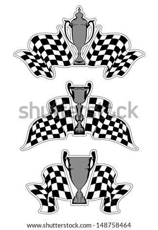 Racing sport emblems with checkered flags and trophies. Jpeg version also available in gallery - stock vector