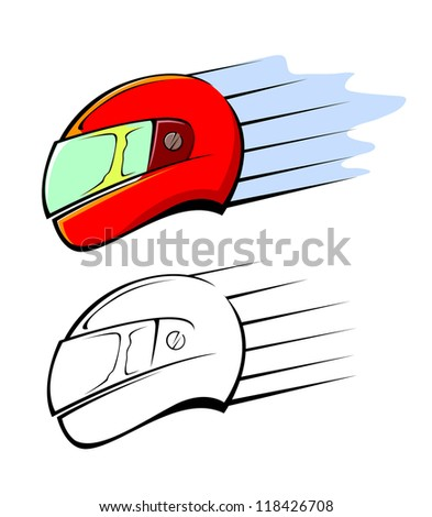 Racing sport helmet in red, vector illustration