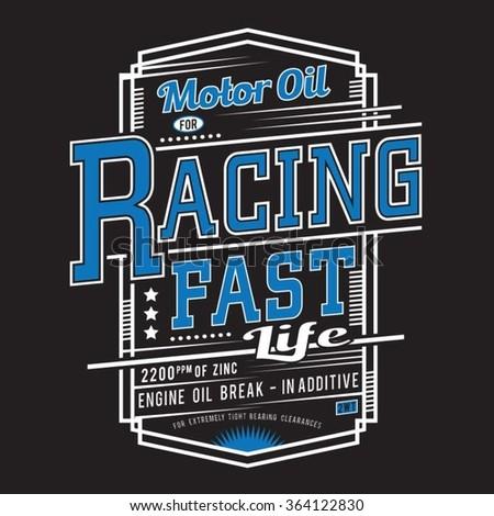 Racing sport typography , t-shirt graphics, vectors   - stock vector