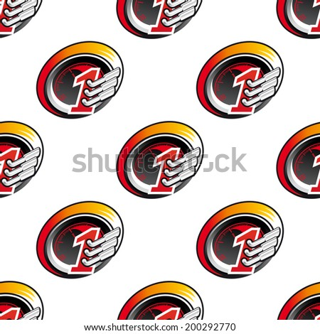 Racing sports seamless pattern with speedometers and tailpipes - stock vector