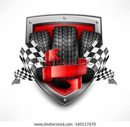 Racing symbols on shield, tires, ribbon and flags, vector illustration - stock vector