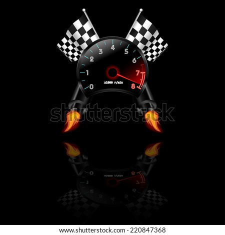Racing theme with reflections. Many objects included like flag, tachometer, exhaust. Vector illustration. - stock vector