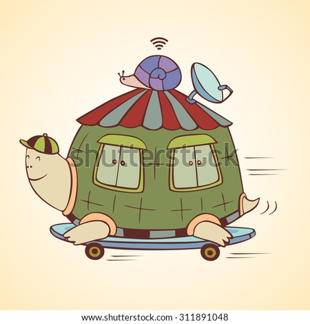 racing turtle house vector illustration graphic cartoon