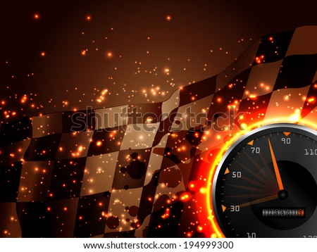 Racing vector vintage background with speed tachometer  - stock vector