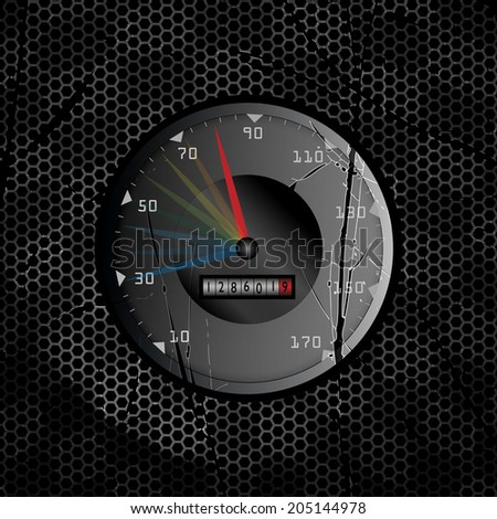 Racing vector vintage background with speed tachometer