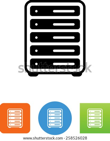 Rack of servers. Vector icons for video, mobile apps, Web sites and print projects.  - stock vector