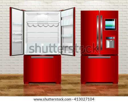 Rad open modern fridge. Rad closed modern fridge. Vector illustration fridge of the interior. - stock vector