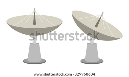 Radar dish antenna for broadcast - stock vector
