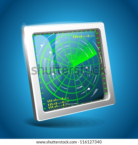 radar icon. on blue background - stock vector