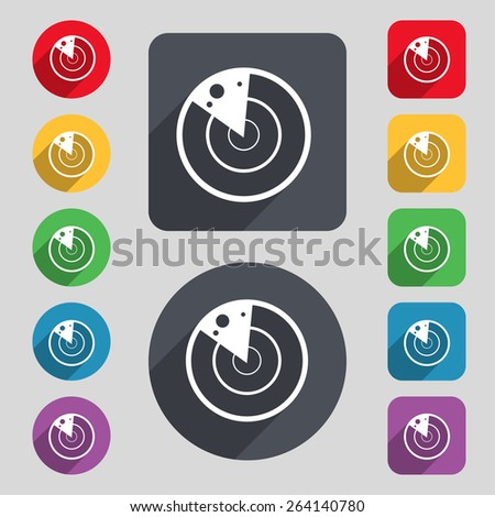 radar icon sign. A set of 12 colored buttons and a long shadow. Flat design. Vector - stock vector