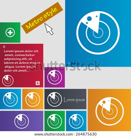 radar icon sign. Metro style buttons. Modern interface website buttons with cursor pointer. Vector illustration - stock vector