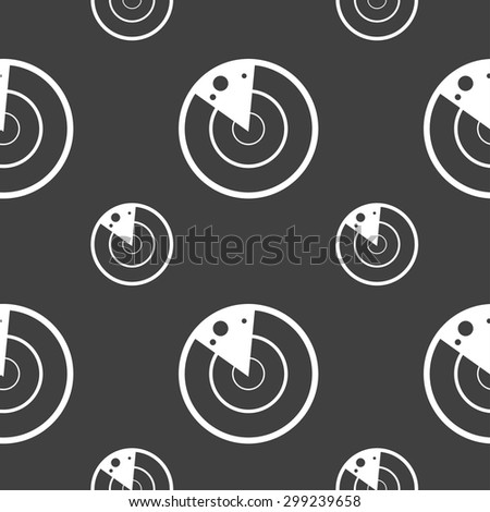 radar icon sign. Seamless pattern on a gray background. Vector illustration - stock vector