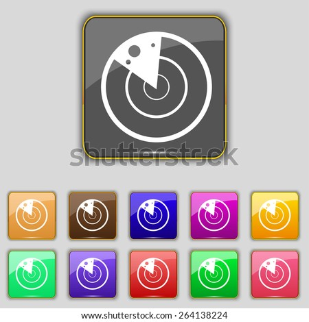 radar icon sign. Set with eleven colored buttons for your site. Vector - stock vector