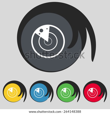 radar icon sign. Symbol on five colored buttons. Vector illustration - stock vector