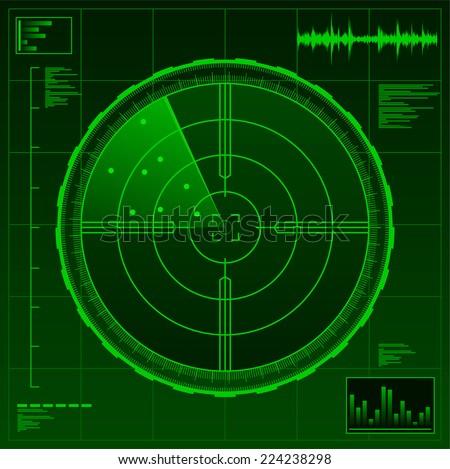Radar military technology war army weapon vector illustration. - stock vector