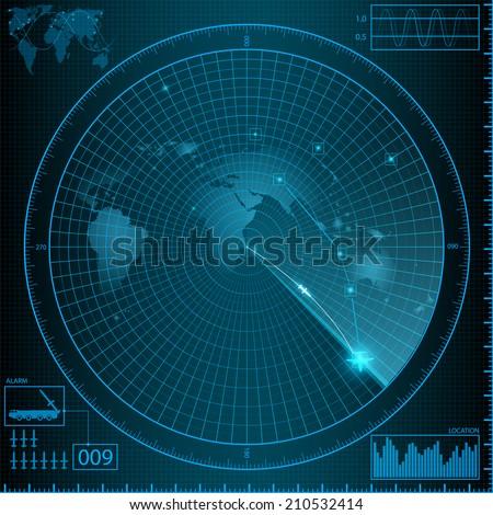 radar  monitor weapon - stock vector