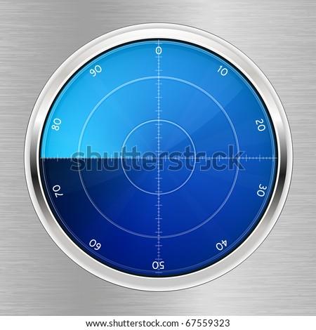 Radar. Oscilloscope monitor. - stock vector