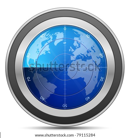 Radar. Oscilloscope monitor with a world map. Vector Illustration