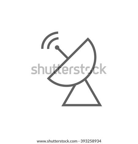 Radar satellite dish line icon. - stock vector