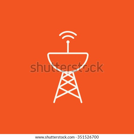 Radar satellite dish line icon for web, mobile and infographics. Vector white icon isolated on red background. - stock vector