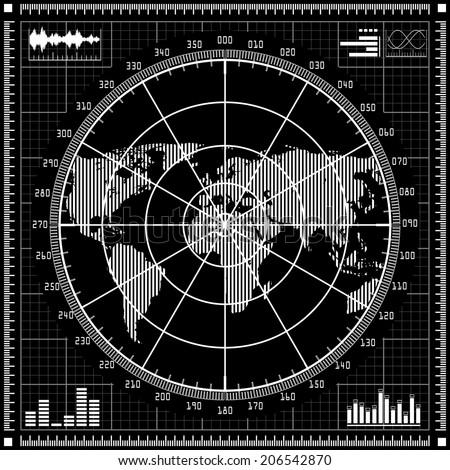 Radar screen.  Black and white vector illustration. - stock vector