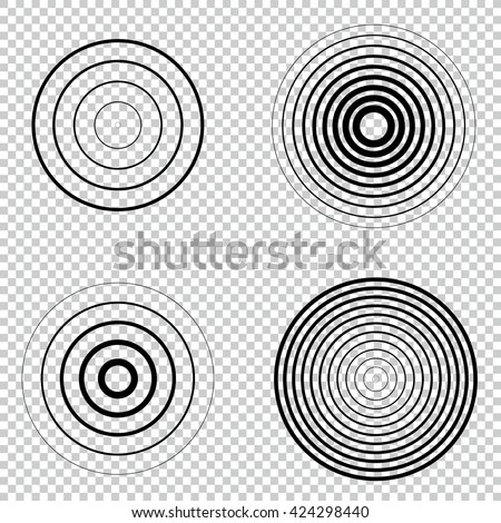Radar screen concentric circle element set. Sound wave. Circle spin target. Radio station signal. Center minimal radial ripple line outline.  - stock vector