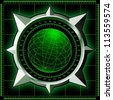 Radar screen. Digital globe inside steel compass rose. Vector EPS10. - stock photo