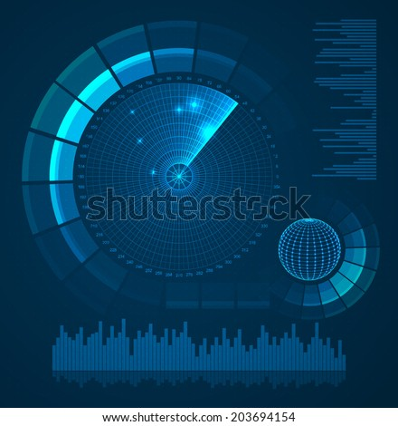 Radar screen. Futuristic user interface. HUD. Vector EPS10. - stock vector