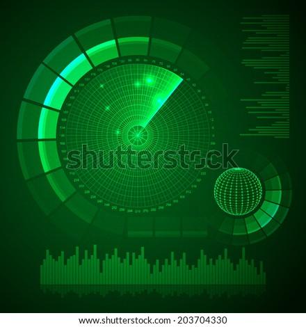 Radar screen. Futuristic user interface. HUD. Vector EPS10. - stock vector