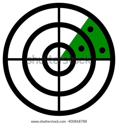 Radar screen symbol, clip art with targets. Radar icon. - stock vector