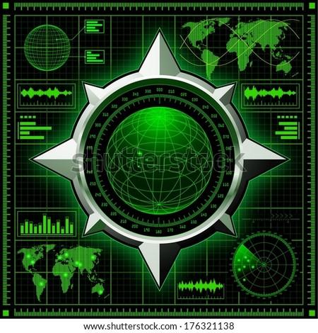 Radar screen with globe. Vector EPS10. - stock vector