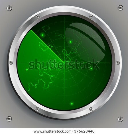 radar screen with the image of green aircraft and land contours - stock vector