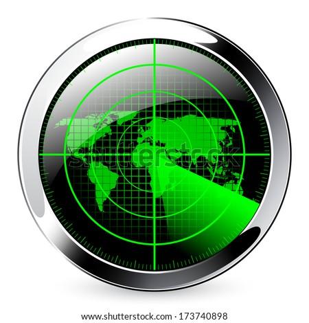 Radar screen with world map. - stock vector